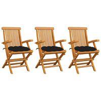 vidaXL Sillas de jardín 3 uds madera maciza de teca con cojines negros
