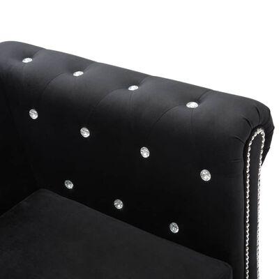 vidaXL Sofá Chesterfield forma de L de terciopelo 199x142x72 cm negro
