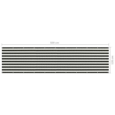 vidaXL Toldo para balcón HDPE 120x500 cm gris antracita y blanco