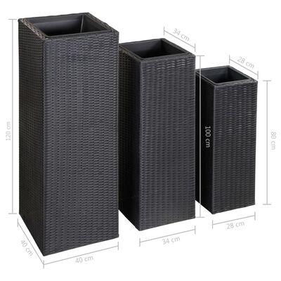 vidaXL Conjunto de arriates de ratán sintético negro 3 piezas