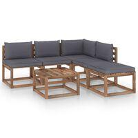 vidaXL Muebles de palets jardín 6 pzas cojines madera pino impregnado