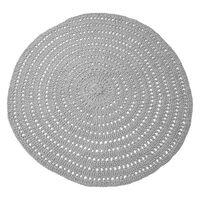 LABEL51 Alfombra redonda de punto de algodón gris 150 cm