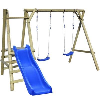 vidaXL Set de columpios con escaleras y tobogán 270x255x210 cm madera de pino