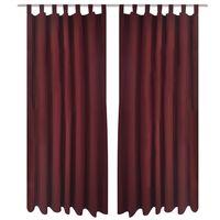 2 cortinas micro-satinadas con trabillas color burdeos, 140 x 225 cm