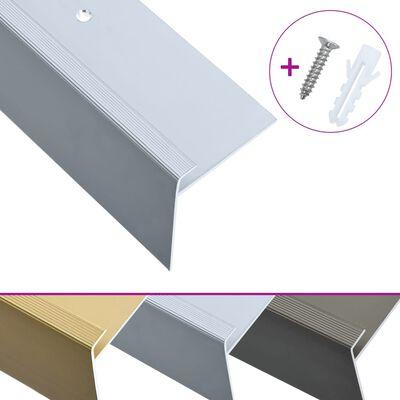 vidaXL Cantoneras escalera forma de F 15 uds aluminio plateado 134 cm