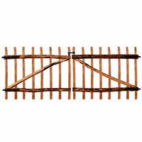 vidaXL Puerta doble para valla 300x120cm madera de avellano impregnada