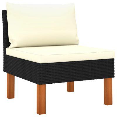 vidaXL Set de muebles de jardín 5 pzas y cojines ratán sintético negro