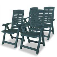 vidaXL Sillas de jardín reclinables 4 unidades plástico verde