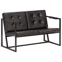 vidaXL Sofá de 2 plazas cuero auténtico de cabra negro