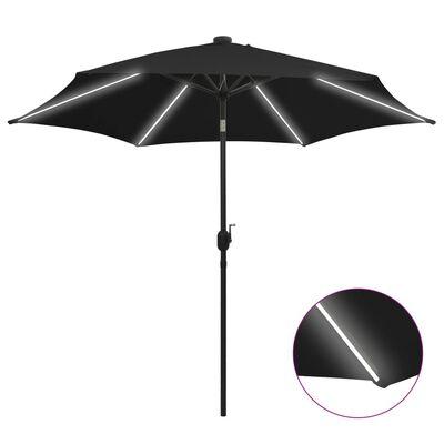 vidaXL Sombrilla con luces LED y palo de aluminio negro 300 cm