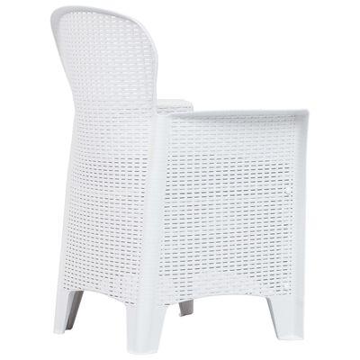 vidaXL Set de muebles de jardín 7 pzas plástico blanco aspecto ratán