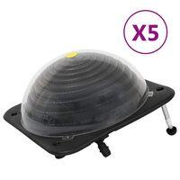 vidaXL Calentadores solares de piscina 5 pzas HDPE aluminio 75x75x36cm