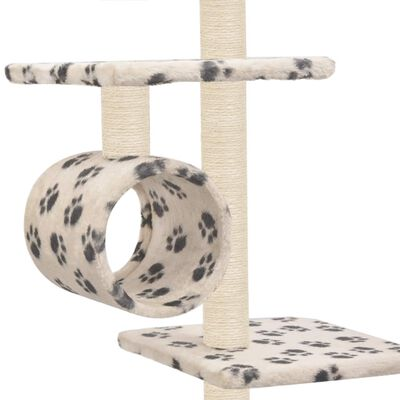 vidaXL Rascador para gatos con poste de sisal 260 cm huellas beige
