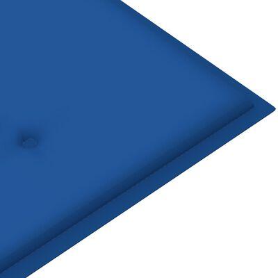 vidaXL Banco de jardín madera maciza teca con cojín azul regio 150 cm