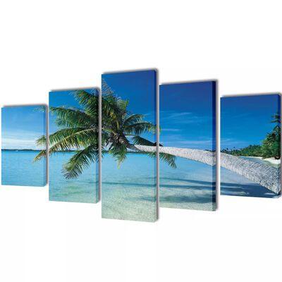 Set decorativo de lienzos para pared playa con palmera 100 x 50 cm