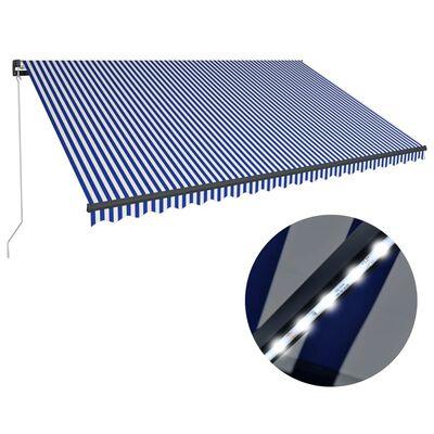 vidaXL Toldo manual retráctil con LED azul y blanco 500x300 cm