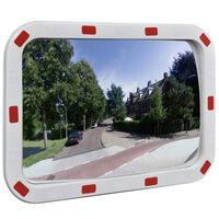 vidaXL Espejo de tráfico convexo rectangular con reflectores 40 x 60cm