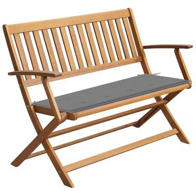 vidaXL Banco de jardín con cojín madera maciza de acacia 120 cm