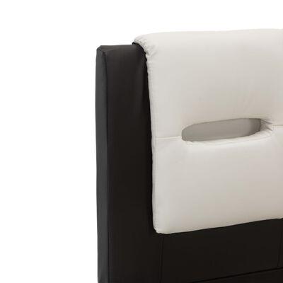 vidaXL Estructura cama con LED cuero sintético negro blanco 100x200 cm