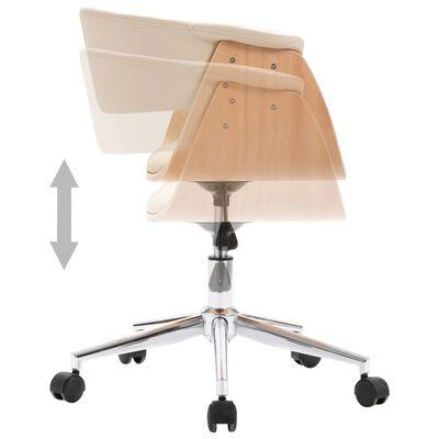vidaXL Silla de oficina giratoria madera curvada cuero sintético crema