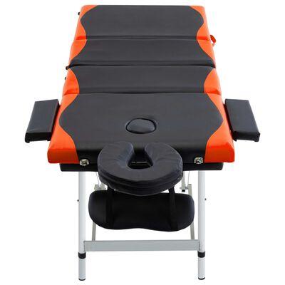 vidaXL Camilla de masaje plegable 4 zonas aluminio negro y naranja