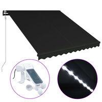 vidaXL Toldo retráctil LED y sensor de viento gris antracita 300x250cm