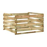vidaXL Compostador con listones madera pino impregnada 120x120x70 cm