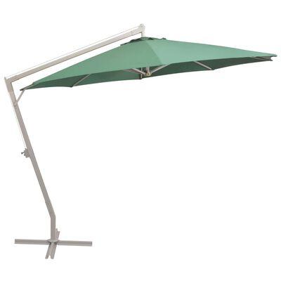 vidaXL Sombrilla colgante con palo de aluminio 350 cm verde