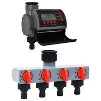 vidaXL Temporizador de riego jardín salida única y distribuidor agua