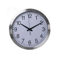 Perel Reloj de pared blanco y plateado 40 cm