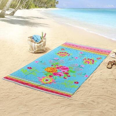 Happiness Toalla de playa WILD ROSE azul aguamarina 100x180 cm