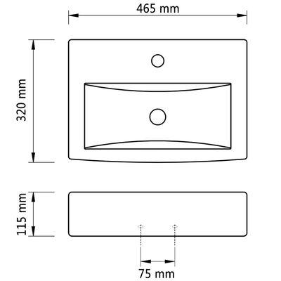 Lavabo de cerámica con agujero para grifo/desagüe negro rectangular