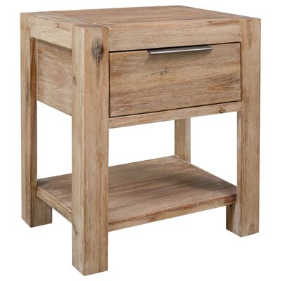 vidaXL Mesita de noche con cajón madera maciza de acacia 40x30x48 cm