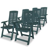 vidaXL Sillas de jardín reclinables 6 unidades plástico verde