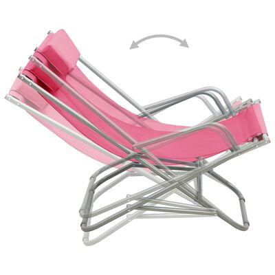 vidaXL Sillas mecedoras 2 unidades acero rosa