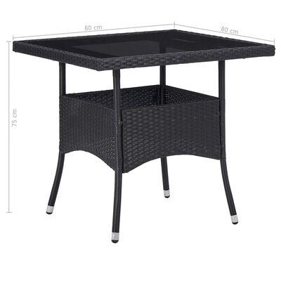 vidaXL Muebles de jardín 5 piezas ratán sintético y vidrio negro