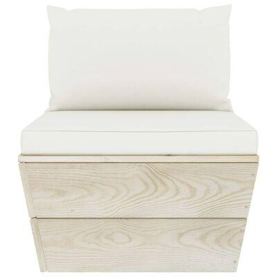 vidaXL Muebles de jardín de palets 3 pzas y cojines madera de abeto