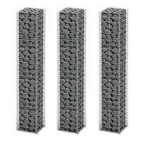 vidaXL Cestas de muro de gaviones alambre galvanizado 25x25x150cm 3 ud