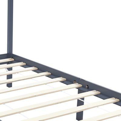 vidaXL Cama con dosel de madera maciza de pino gris 160x200 cm