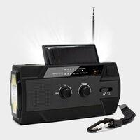 Radio de supervivencia multifuncional con panel solar y manivela