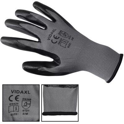 vidaXL Guantes de trabajo de nitrilo 24 pares gris y negro talla 10/XL