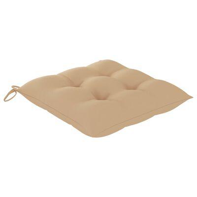 vidaXL Sillas de jardín 4 uds madera maciza de teca con cojines beige