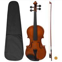 vidaXL Juego completo de violín con arco y mentonera madera oscura 4/4