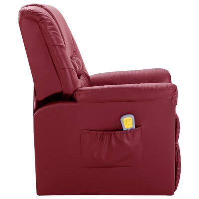 vidaXL Sillón de masaje reclinable de cuero artificial rojo vino tinto