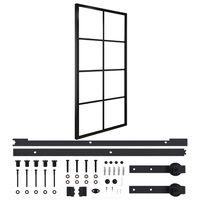 vidaXL Puerta corredera de aluminio y vidrio ESG herrajes 102,5x205cm