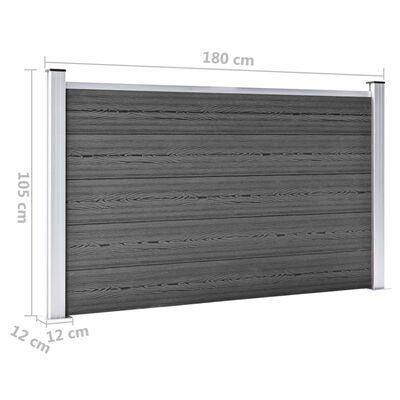 vidaXL Panel de valla WPC negro 180x105 cm