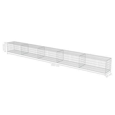 vidaXL Muro de gaviones con cubiertas acero galvanizado 600x50x50 cm