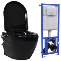 vidaXL Inodoro WC de pared sin bordes cisterna oculta cerámica negro