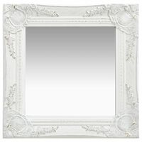 vidaXL Espejo de pared estilo barroco blanco 40x40 cm