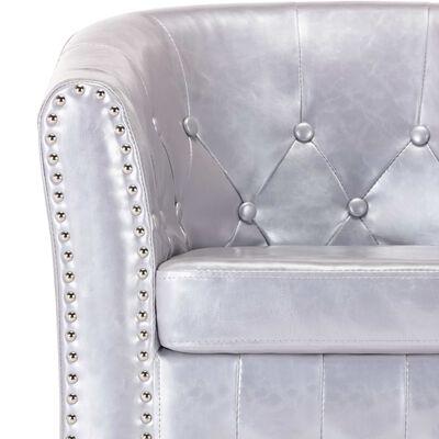 vidaXL Sillón con diseño de cubo cuero sintético plateado brillante